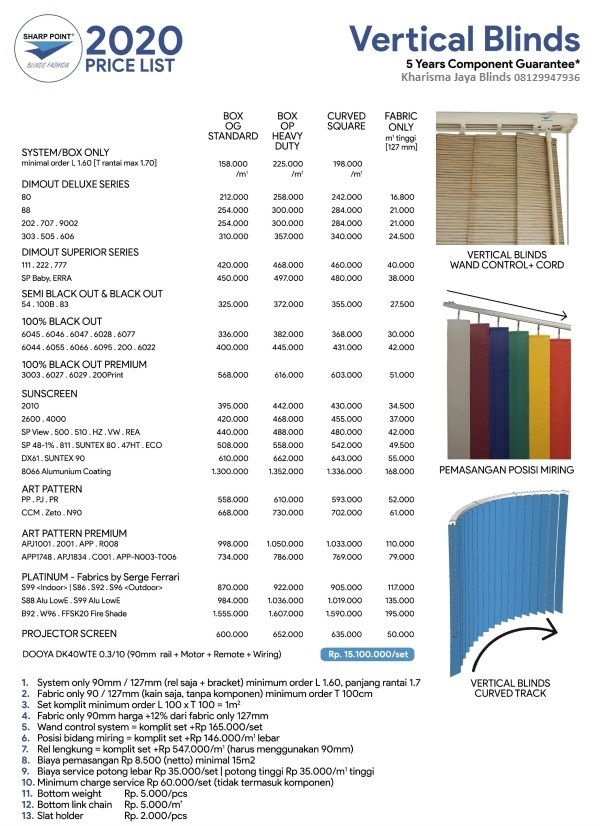 Katalog Harga Vertical Blind Sharp Point