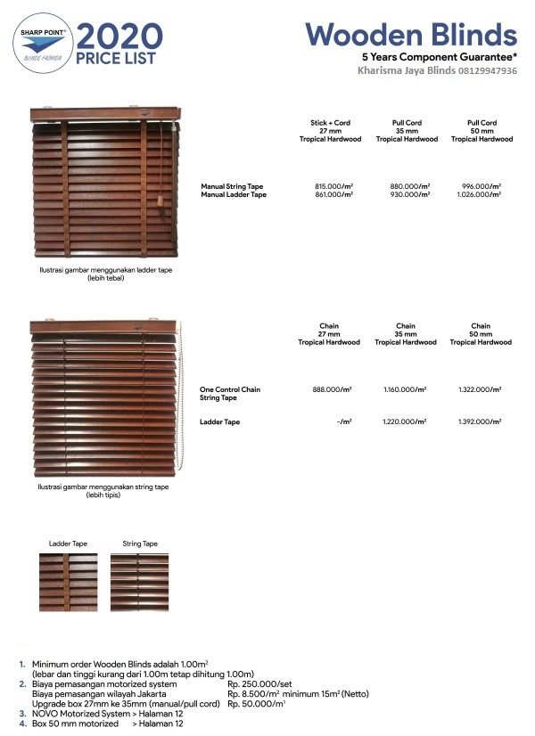 Harga Wooden Blind Sharp Point