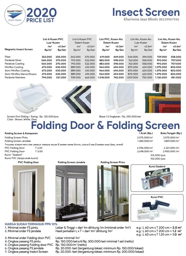 harga folding door sharp point